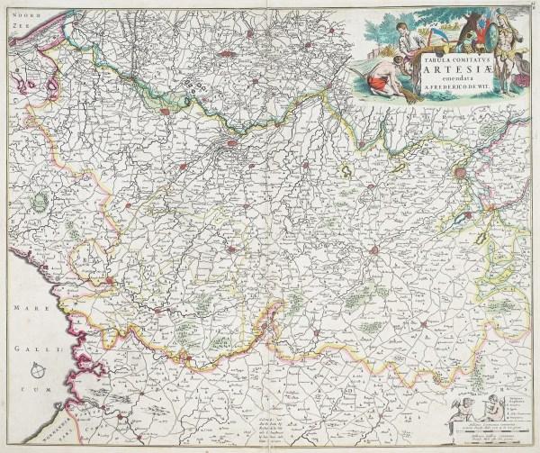 Carte géographique ancienne de l'Artois - De Witt cartographe