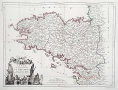 Carte géographique ancienne de la Bretagne - Antique map