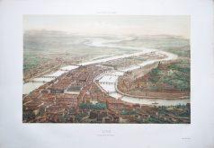 Gravure ancienne - Lyon - La Croix Rousse - Voyage Aérien en France