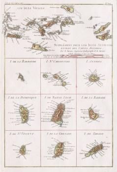 Carte géographique ancienne des Antilles anglaises - Antique map