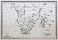Carte géographique ancienne de l'Afrique du Sud - Antique map
