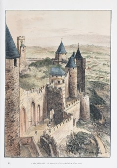 Lithographie ancienne - Carcassonne