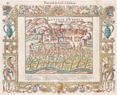 Gravure ancienne de la ville d'Embrun - François de Belleforest