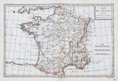 Carte géographique ancienne de la France