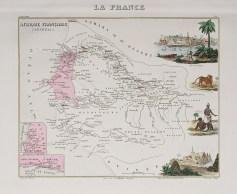 Carte géographique ancienne du Sénégal
