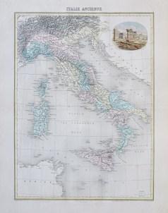 Carte géographique ancienne de l'Italie antique
