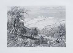 Gravure ancienne - Montagne des oliviers