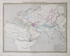 Carte géographique ancienne - Migrations des peuples