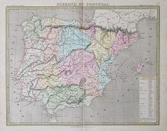 Carte géographique ancienne de l'Espagne et le Portugal