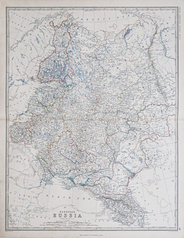 Original antique map of European Russia
