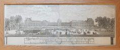 Gravure ancienne - Panorama du Palais des Tuileries du coté du Jardin
