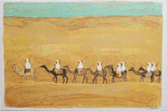 caravane dans le désert gravure