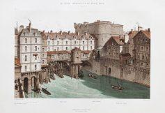 Gravure ancienne du Petit Châtelet et Petit Pont