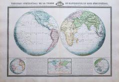 Mappemonde ancienne en deux hémisphères