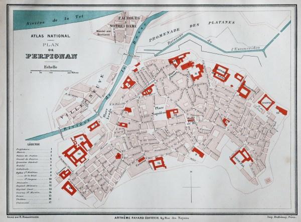 Plan ancien de la ville de perpignan