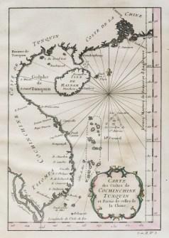 Carte géographique ancienne de la Cochinchine