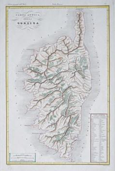 Carte géographique ancienne de la Corse