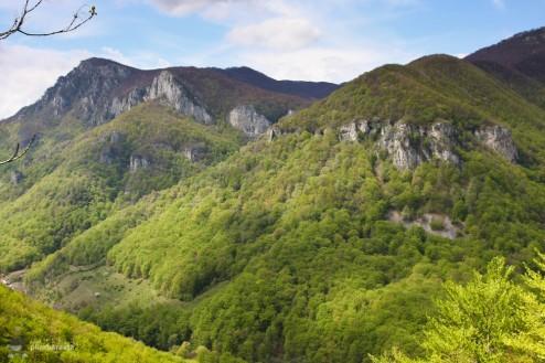 Panorama cu Valea Cernei (Cheile Tasnei-Valea Cernei, Muntii Mehedinti)
