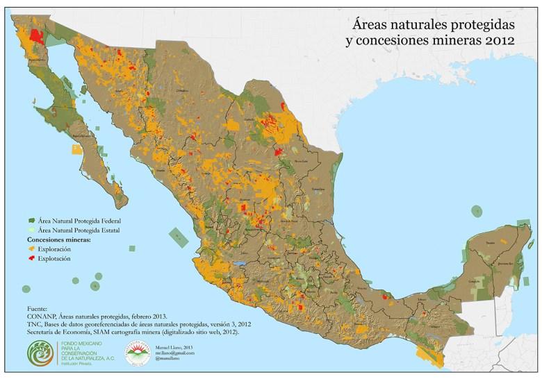 Concesiones mineras y áreas naturales protegidas (clic para ver más grande)