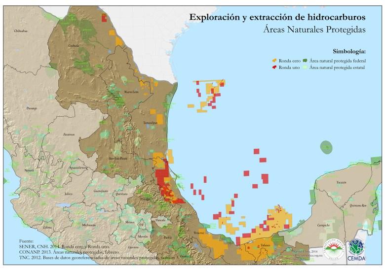 Hidrocarburos y áreas naturales protegidas (Clic para ver más grande)