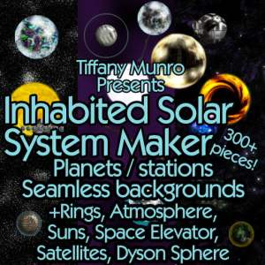 Inhabited Solar System Maker with Technology, Celestial Objects, Starfields planets suns dyson sphere space elevator atmosphere rings add ons seamless star fields sci-fi science fiction scifi map making kit