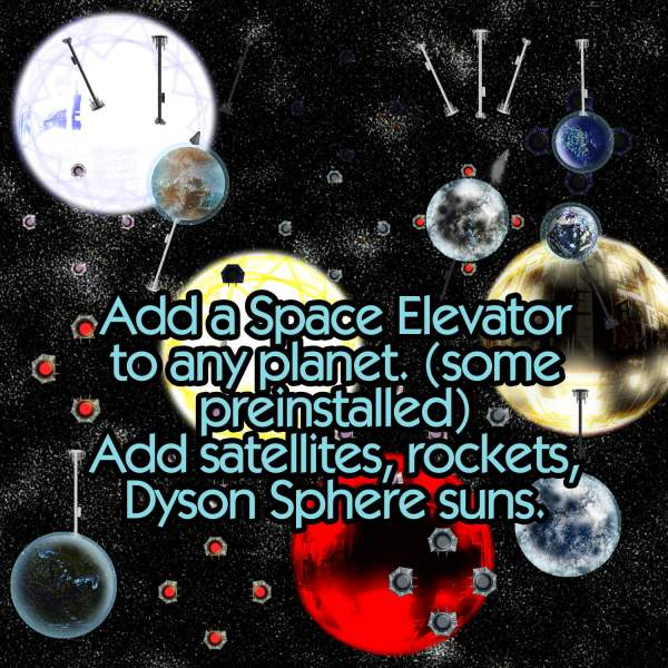 Inhabited Solar System Maker with Technology, Celestial Objects, Starfields planets suns dyson sphere space elevator atmosphere rings add ons seamless star fields sci-fi science fiction scifi map making kit tech dyson sphere artificial sun space elevator satellites rockets demo