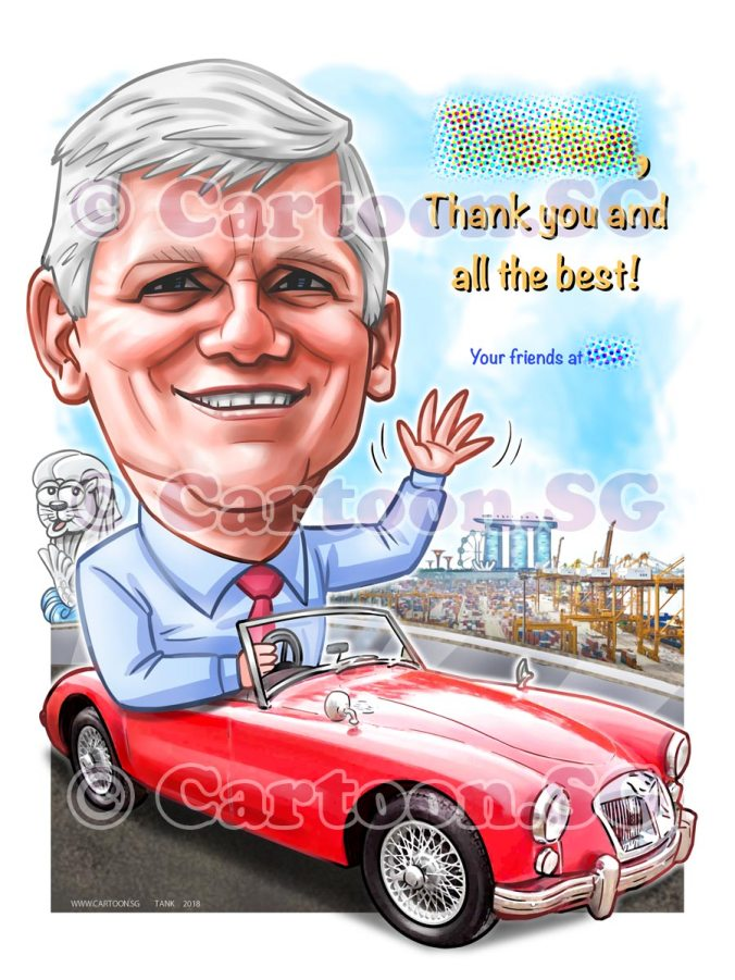 Gift for boss on a vintage car