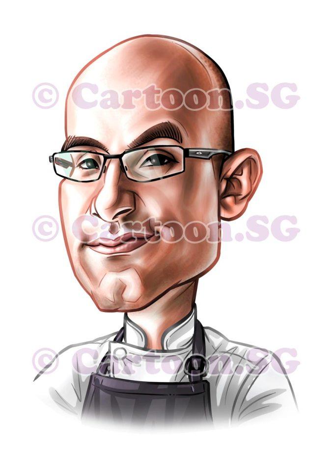 Mugshot caricature of chef