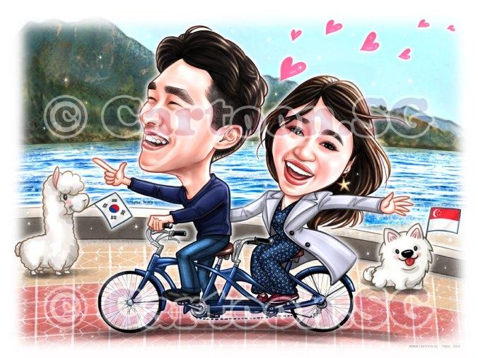 20191215-Caricature-Singapore-digital-couple-bike-korea-beach-moutain-love