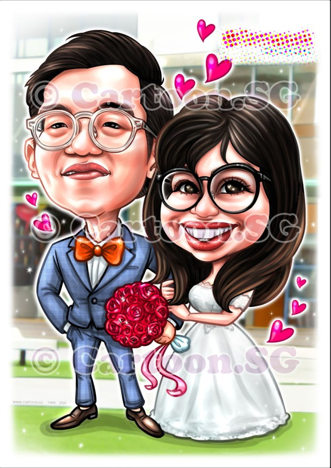 Wedding couple caricature gift for the auspicious day to replace your attendance especially with the social distancing and limited wedding guests.