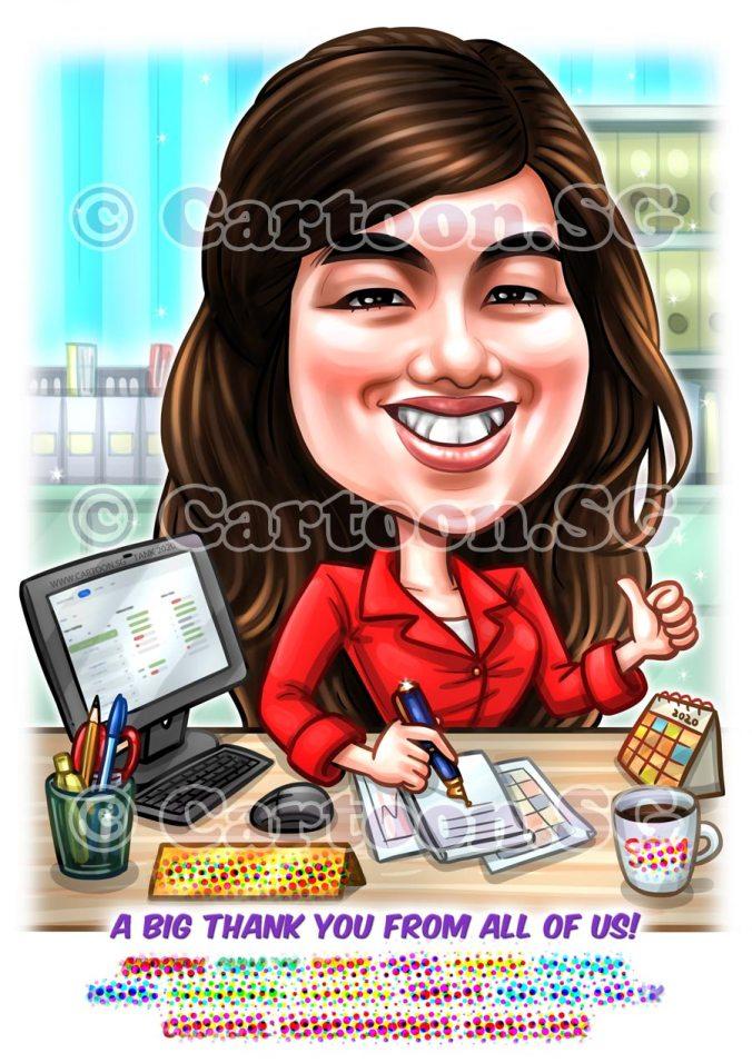 Farewell ladyboss sketch caricature