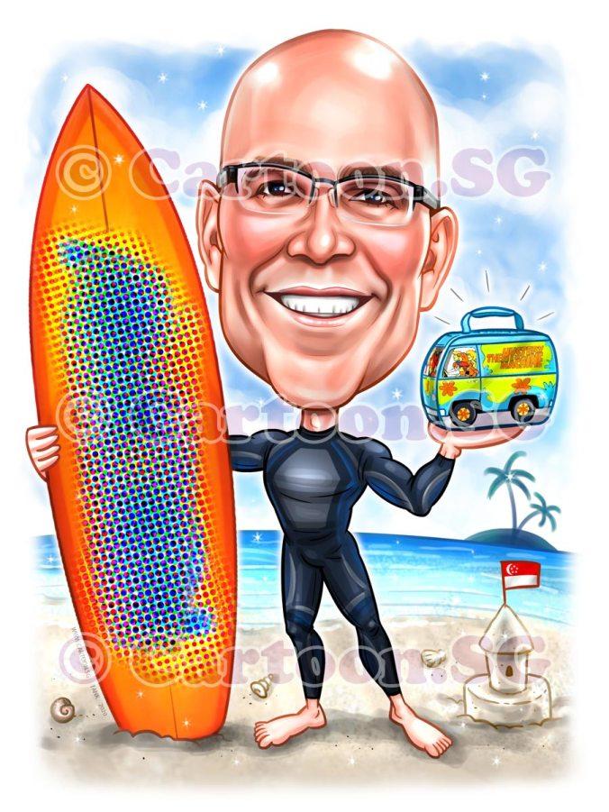 Surfer board lunchbox picnic beach