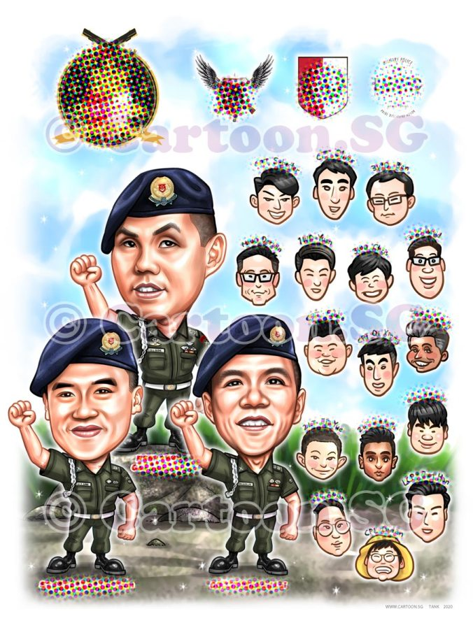 Army SAF uniform group sketch caricature cartoon