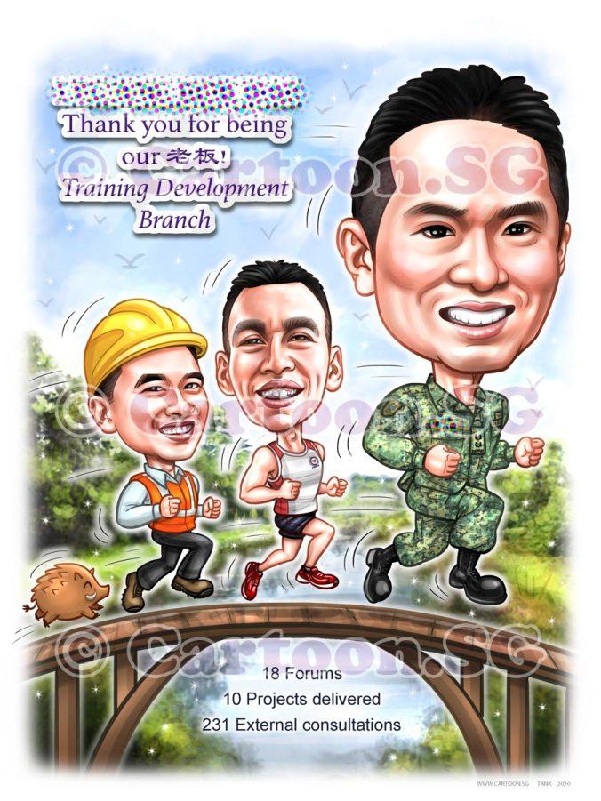 SAF army uniform wild boar cartoon sketch