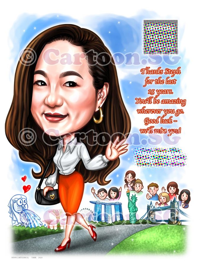 farewell lady boss cartoon caricature landmarks