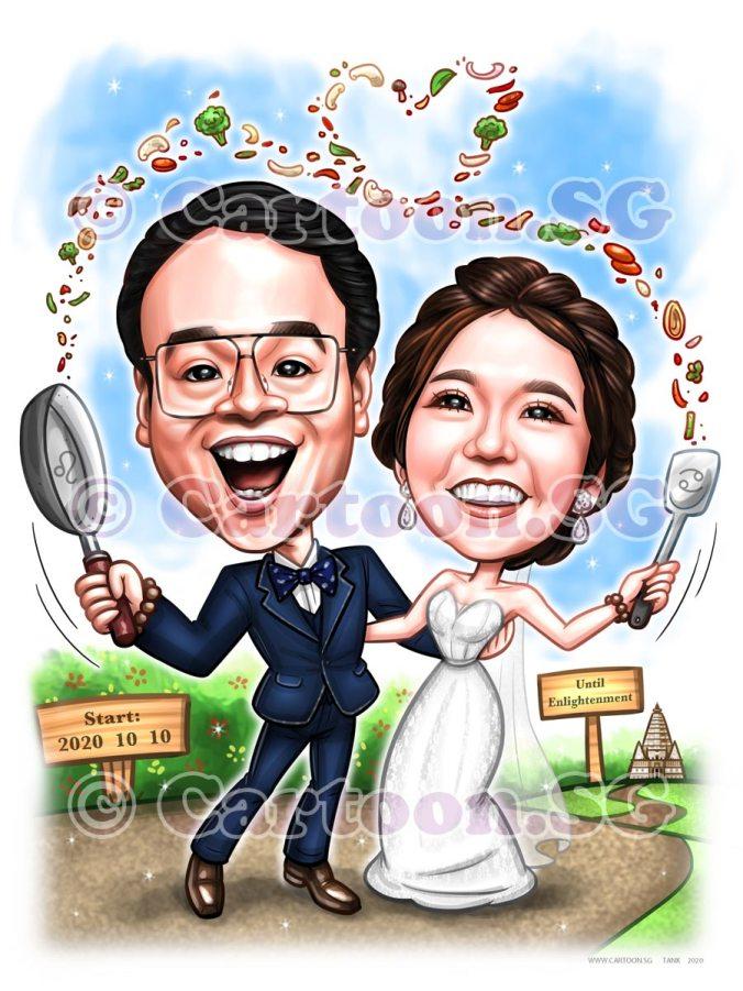 love couple goals vegetables pan bride and groom wedding caricature cartoon