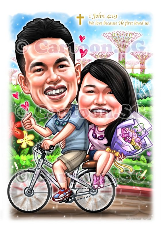 couple bicycle garden by the bay cartoon caricature
