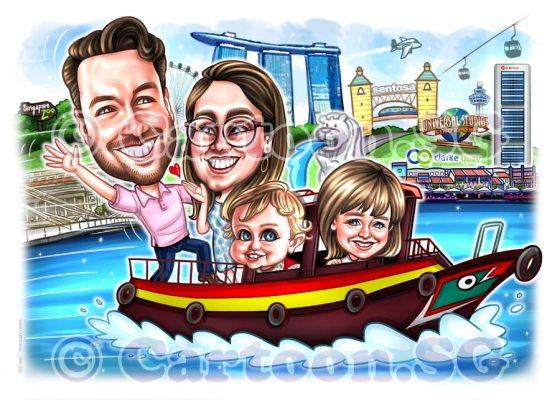 boat tour family singapore iconic landmarks caricature cartoon
