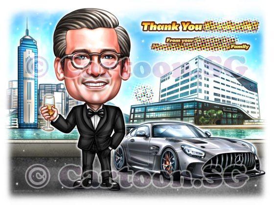 black suit mercedes car cartoon caricature man black suit