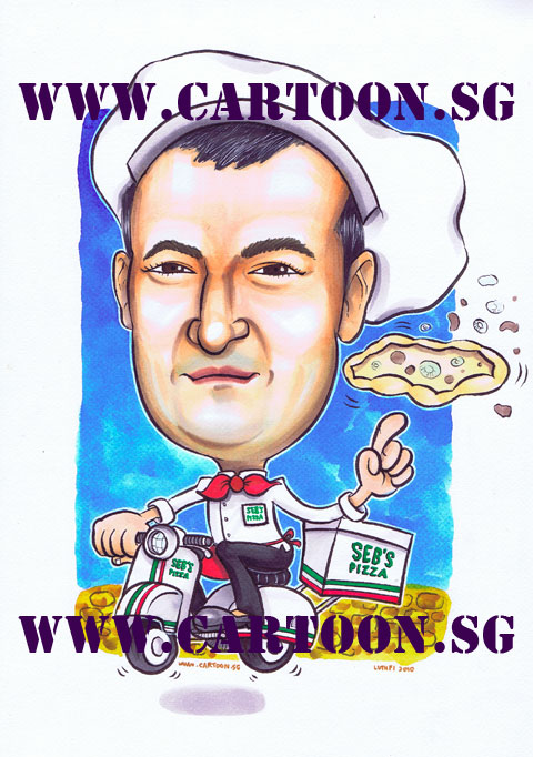Caricature cartoon drawing by Singapore artist of Chef twirling pizza riding a scooter in Singapore CBD area probably Orchard Road buying gifts .