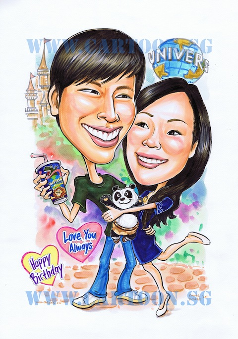caricature of couple at USS with lady hugging boyfriend and kungfu panda plush toy