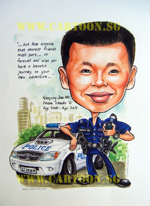 Police officer caricature