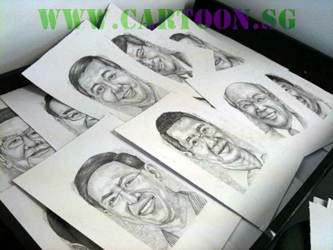 Pencil sketch portraits by caricature artists agency in Singapore