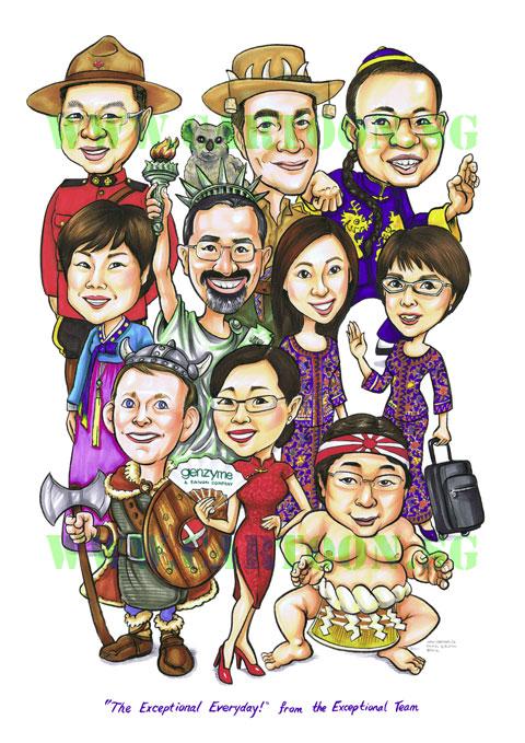 International theme, caricature gift