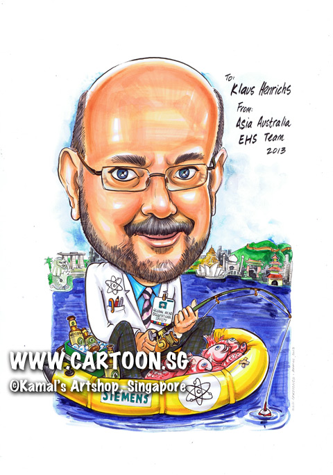 singapore caricature cartoon art drawing fun picture image sketch colour nuclear scientist blue striped tie shirt lab coat fishing rod pink fishes fish yellow float siemens beard ocean sea river black pants marina bay sands buildings building merlion green hills pen in pocket name tag wine bottles
