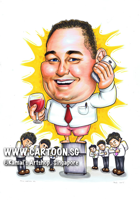 singapore caricature cartoon art drawing fun picture image sketch colour grey fridge singapore pink shirts shirt red tie glass wine handphone mobile cell phone cellphone shorts bow employee employees talking talk command energy yellow splash happy serve smiling smile serve determined energetic driven pen pocket bare feet team teamwork
