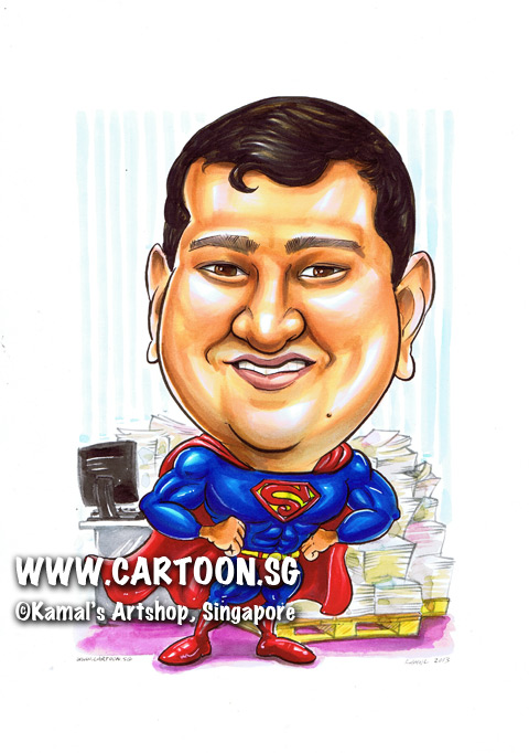 singapore caricature cartoon art drawing fun picture image sketch colour superman macho muslces stacks of paper funny air force muscular beefy computer screen monitor hands on hips
