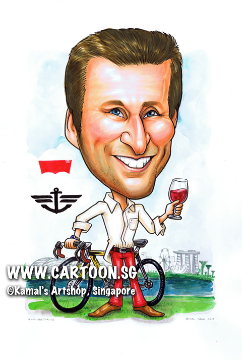 singapore caricature cartoon art drawing fun picture image sketch colour man bicycle fashion style levi levis levi's anchor bike red wine jeans esplanade flyer marina bay sands river grass patch grassy white shirt black belt smiling smile happy funny angmoh grinning grin
