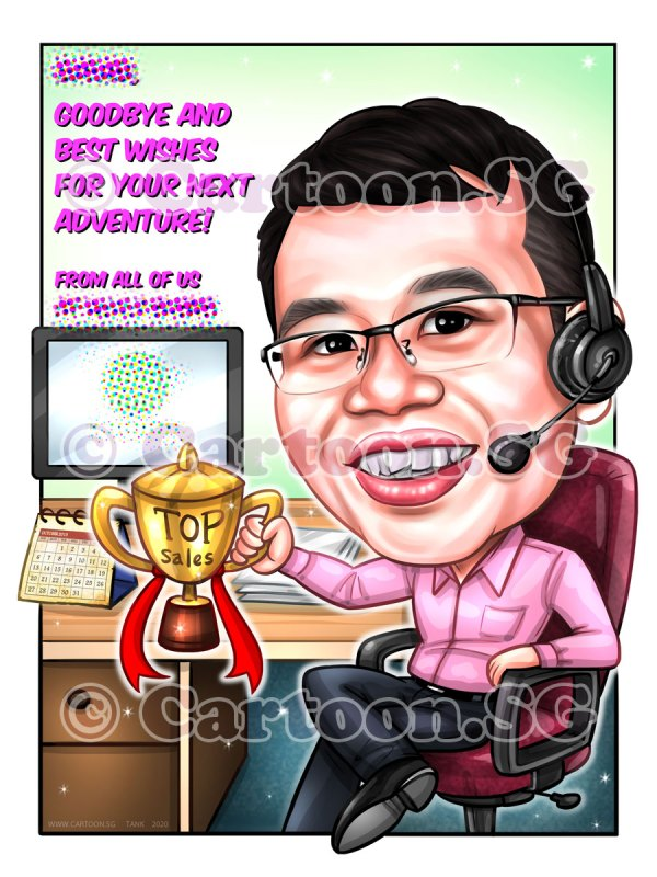 Caricature gift drawing in Sinagpore