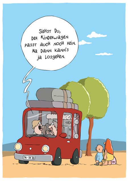 Thomas Luft, Cartoon, Lustig, Kinderwagen